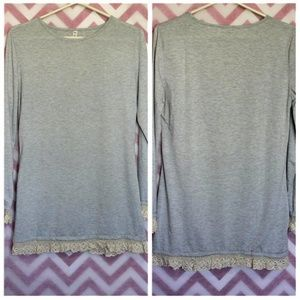 Long Sleeve Gray Shirt w/ Lace Hem Size M